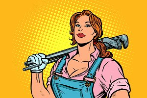 A strong woman mechanic plumber