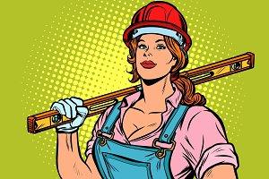 Pop art woman Builder with level