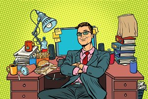 pop art businessman, workplace