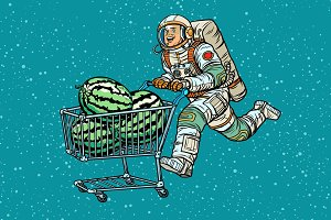 Astronaut buys watermelons. shopping