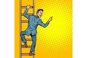 businessman climbs stairs, man