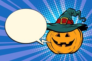 pumpkin Halloween comic bubble