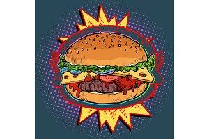 hot Burger on fire