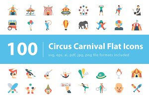 100 Circus Carnival Flat Icons