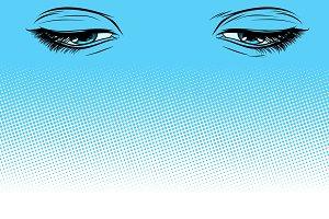 women eyes look down