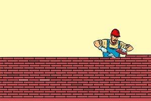 The Builder lays brick masonry in