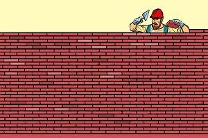 The Builder lays brick masonry at
