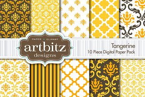 Tangerine Digital Paper 10 Piece