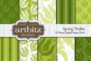 Spring Thistles Digital Paper