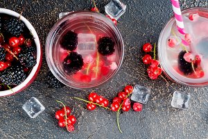 refreshing drink with red currant an