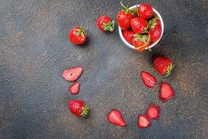 Ripe juicy Strawberry, fruit dry chi