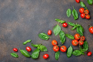 leaves  green basil, cherry tomatoes