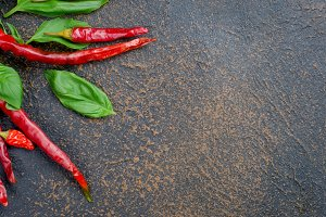 leaves green basil and pepper spice