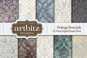 Vintage Brocade Digital Paper