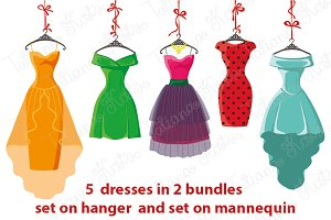 5 colored women's dresses. Vector