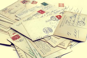 Vintage postcards with stamps