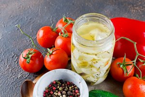 Marinated spicy  feta in a jar and v