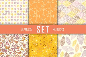 6 seamless flat vector patterns set