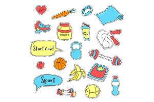 Sport stickers set. Hand drawn