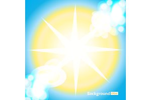 Bright Sun Rays Background. Vector