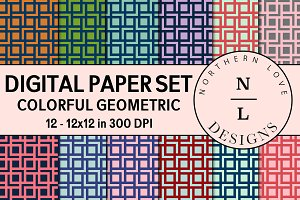 Digital Paper Set - Colorful Geo
