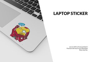 Laptop Sticker Mockup