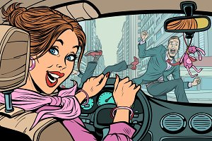 Joyful woman driver, accident on