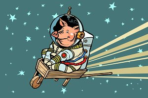 Pig astronaut rides on a wooden