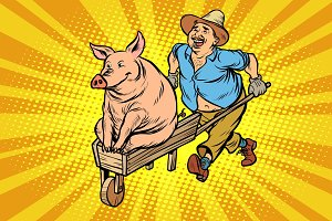 A farmer is transporting a pig on a