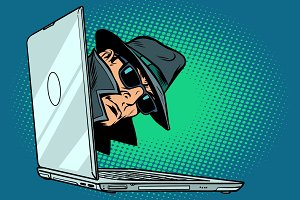 spy. laptop computer. surveillance