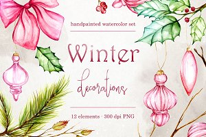 Winter decorations clip art