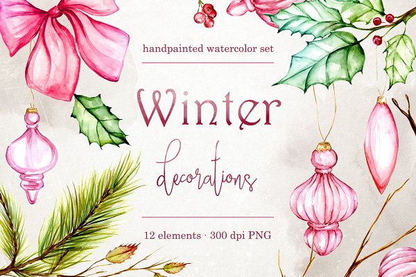 Winter decorations clip art