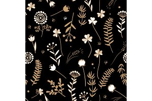 Seamless floral pattern with doodle