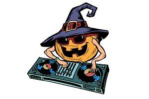 Halloween pumpkin DJ character