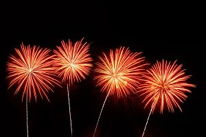 Orange and pink fireworks