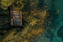 Aerial view of a lake by  in People