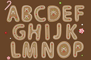 'Christmas Cookie'  vector alphabet
