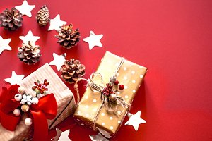 Christmas concept, two gift boxes