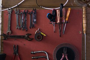 Wall with tools. Board with tools.