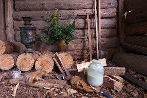Rural food in the barn. Rural.