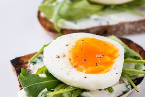 Rye toast with egg and soft cheese