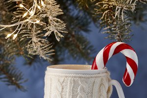 Knitted winter cup of hot drink