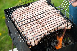Barbecue with fresh homemade sausage