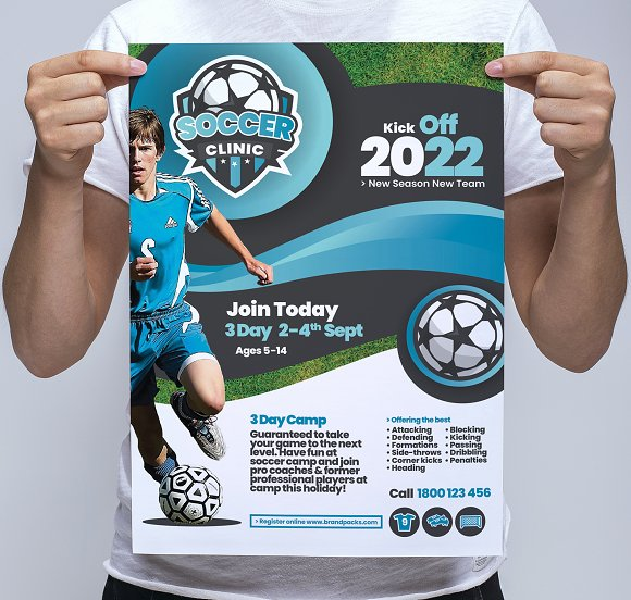 soccer camp poster template flyer templates creative market