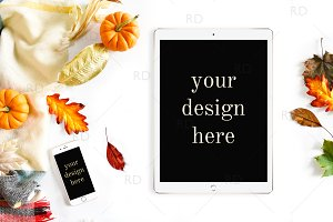 Fall Themed Tablet and Phone Mockup