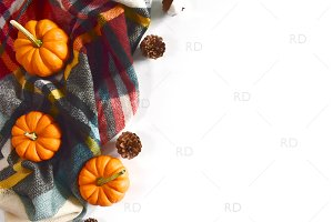 Fall Autumn Themed Desk Stock Photo