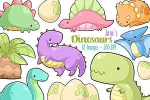 Kawaii Dinosaurs Clipart
