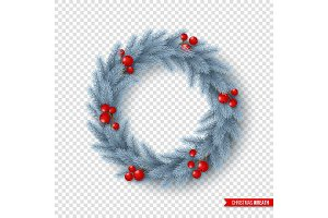 Christmas wreath with realistic fir