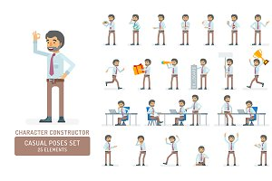 Office worker character poses set