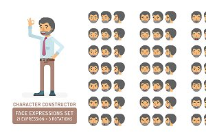Office worker face expressions